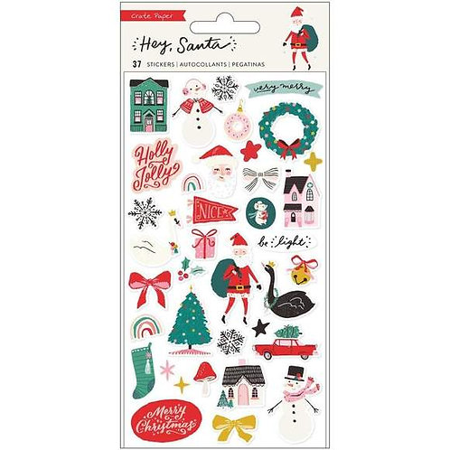 Crate Paper – Hey Santa – Puffy Stickers