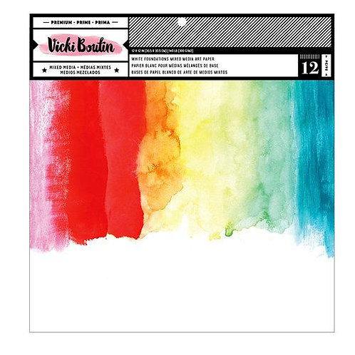 Vicki Boutin 12x12 White Foundation Mixed Media Paper Pad