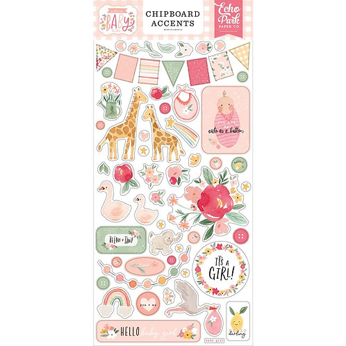 Welcome Baby Girl - Chipboard