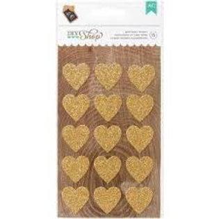 DIY Shop - Gold Glitter Heart Stickers