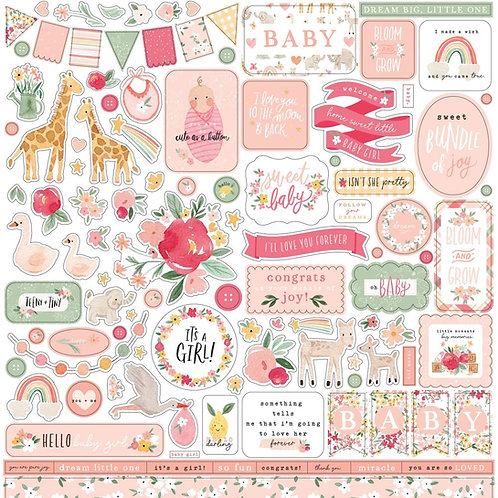 Welcome Baby Girl - 12x12 Stickers