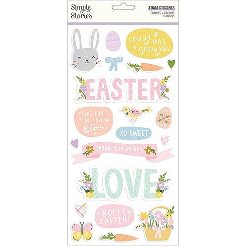 Bunnies & Blooms Foam Stickers 36/Pkg