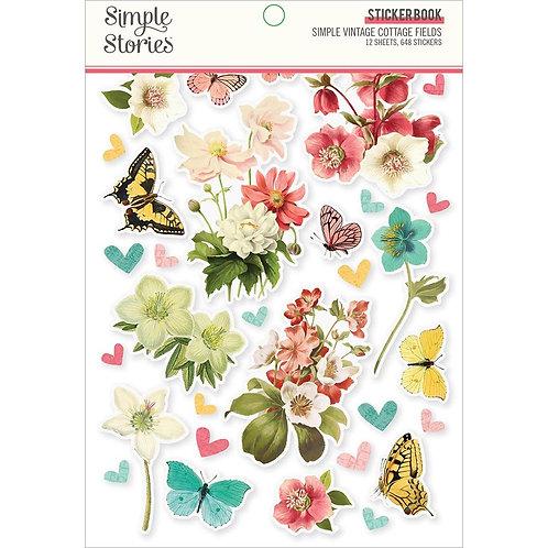 Simple Vintage Cottage Fields sticker book