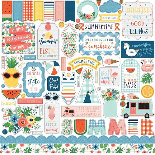 "Summertime Cardstock Stickers 12""X12"""