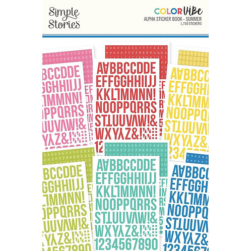 Simple Stories Color Vibe Alpha Sticker Book 12/Sheets - Summer