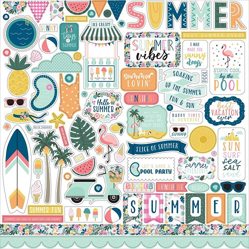 """Pool Party Cardstock Stickers 12""""X12"""""""