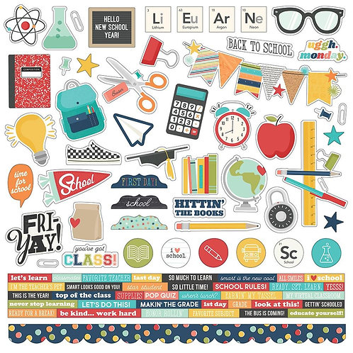 """School Life Cardstock Stickers 12""""X12"""""""