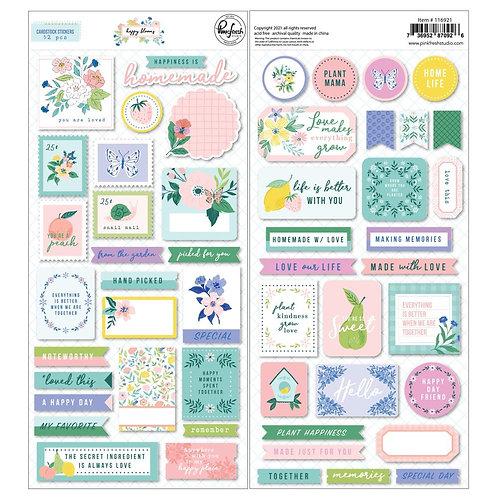 PinkFresh Elements  Cardstock Stickers - Happy Blooms