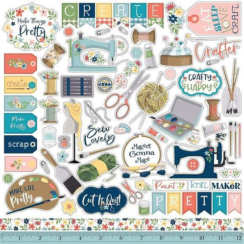 """CRAFT & CREATE CARDSTOCK STICKERS 12""""X12"""" - ELEMENTS"""