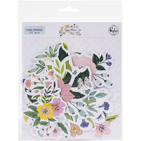 PinkFresh Elements  Floral Ephemera - Happy Blooms