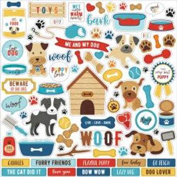 "I Love My Dog Cardstock Stickers 12""X12"""