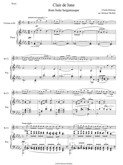Debussy Clair de lune - Clarinet