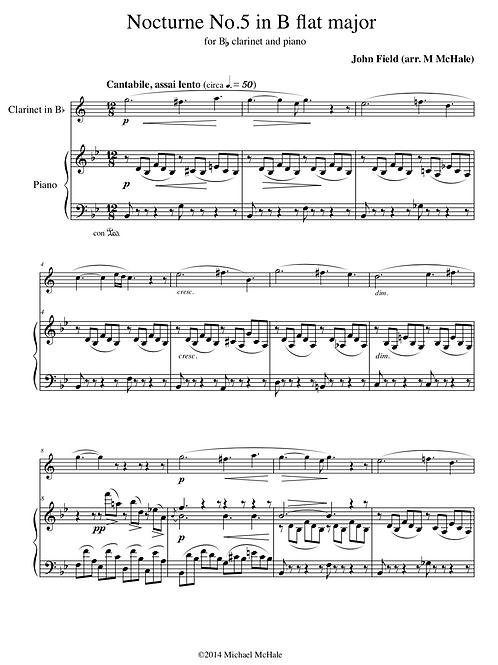 Field Nocturne in B flat - Clarinet