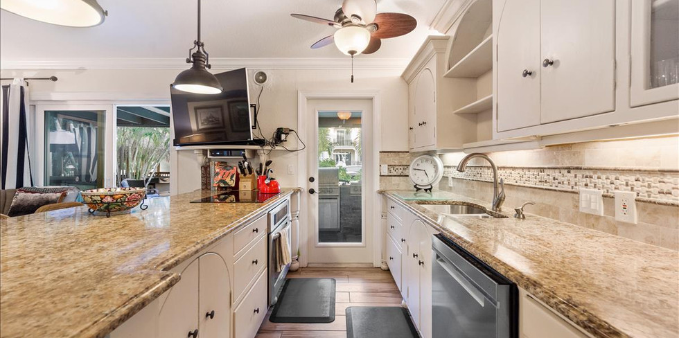 Kitchen Island with Grante Counter Tops.