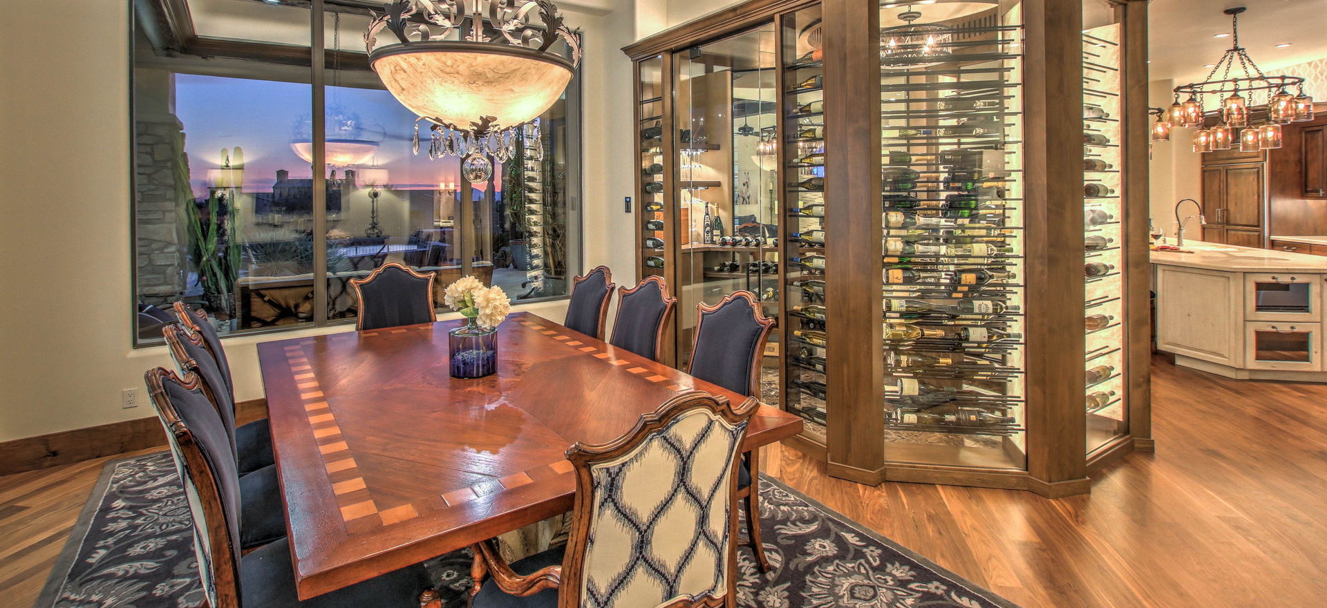The new wine room is the centerpiece of the home. With views from multiple areas in the home, this labor of love was our last piece to complete.  Now the homeowner can truly put thier extensive wine collection center stage.