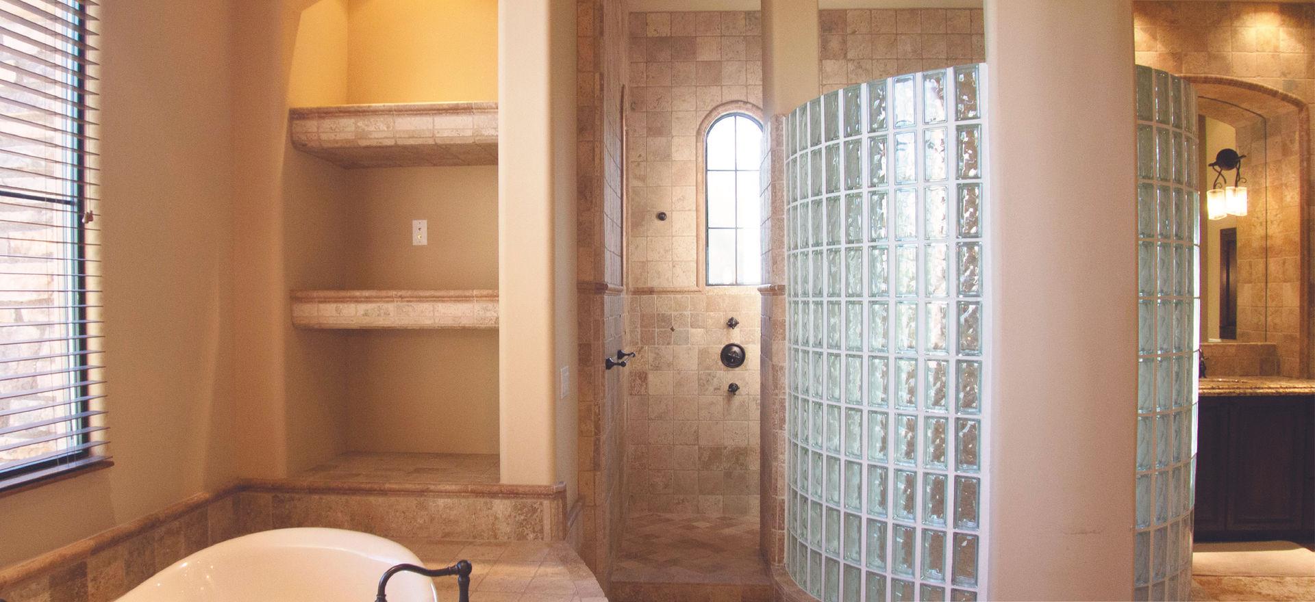 Goodbye glass block shower.