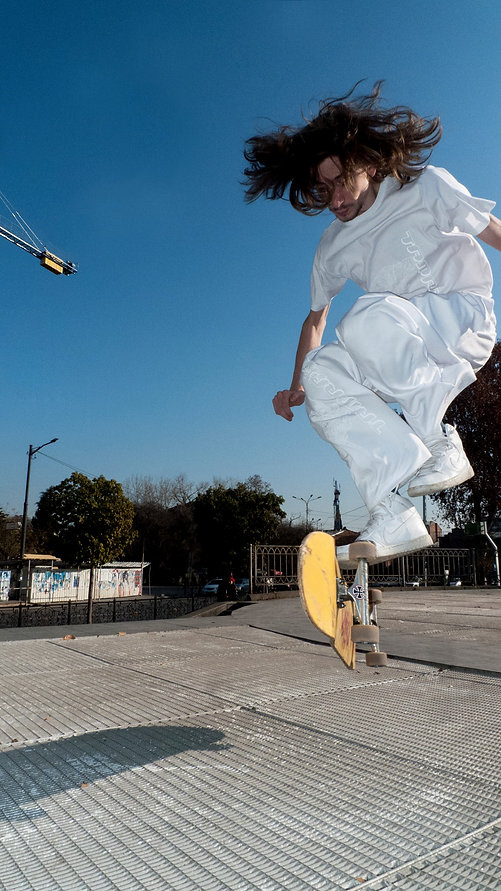 "Skater wearing Tamra ""White on White"" Items"