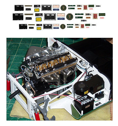 1/8 E-Type Jaguar engine bay decals