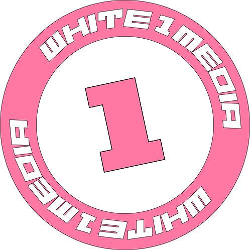Pink White1Media Cut Vinyl Sticker
