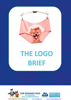 A humerous image of a pair of briefs with a dog's head on the front