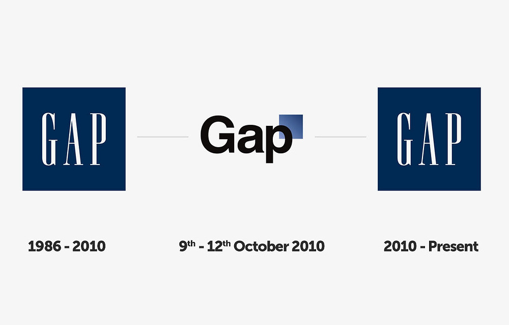 Example of how Gap reverted to original logo