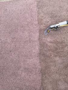 Pink rug during clean