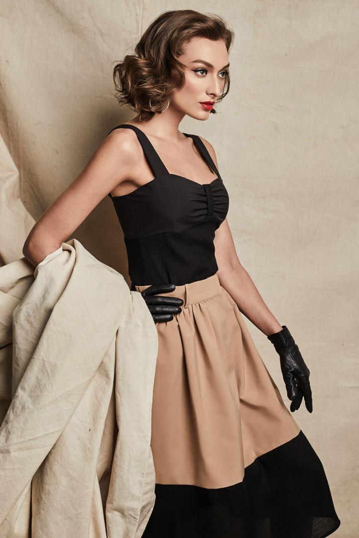 Emily Top + Olivia Skirt in Khaki/Black