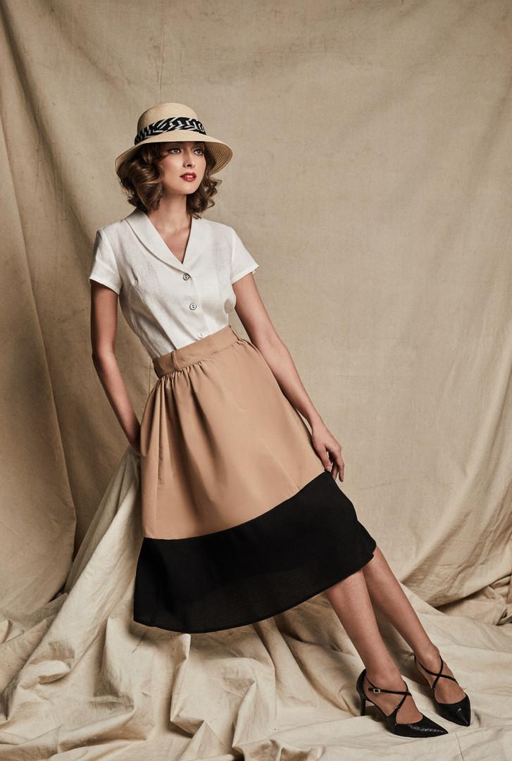 Audrey Shirt + Olivia Skirt in Khaki/Black