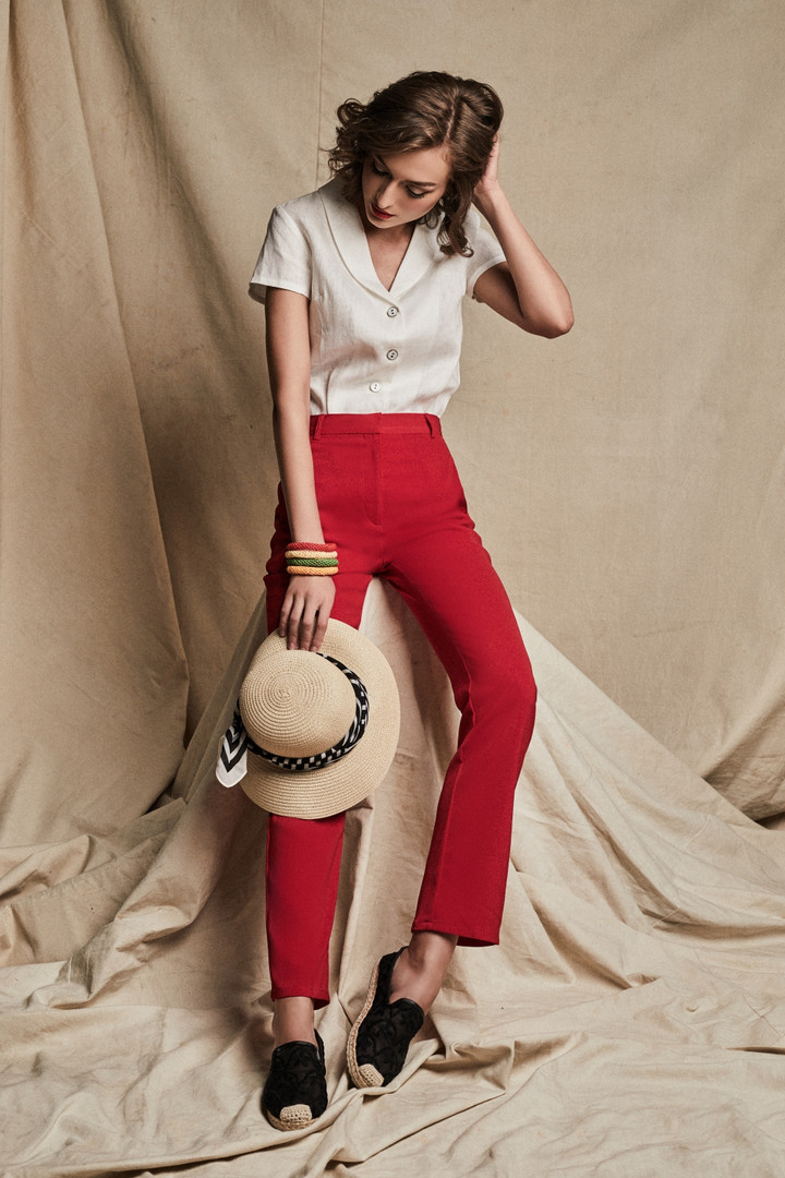 Audrey Shirt + Stella Pants in Red