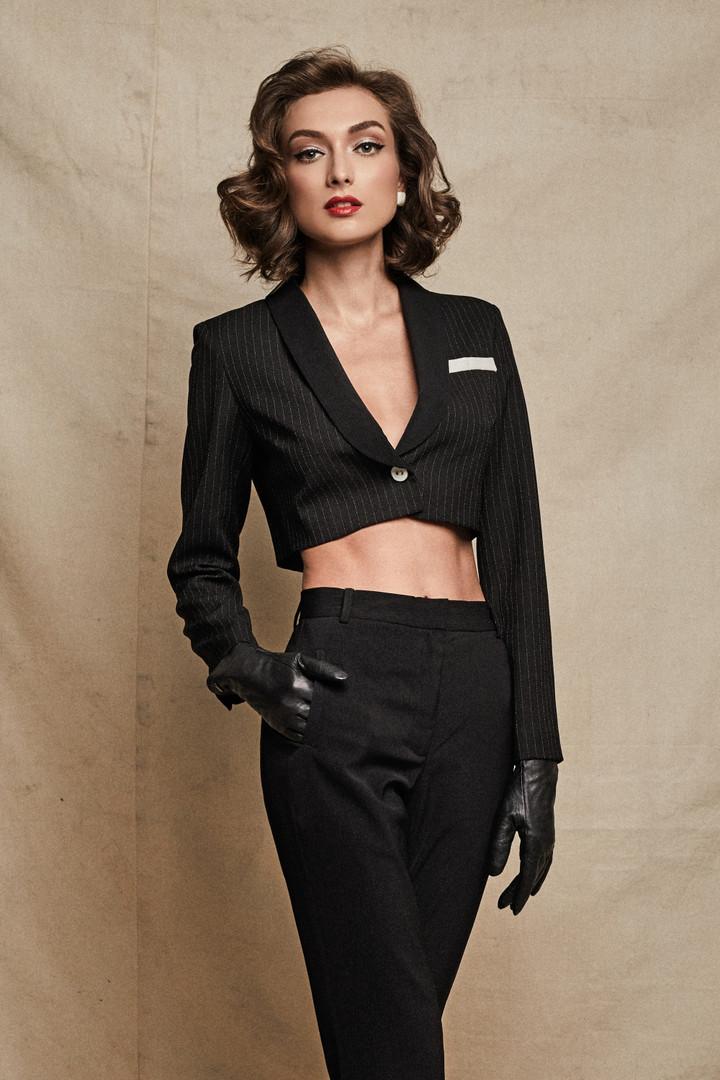 Leah Jacket + Stella Pants in Black