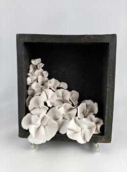 cuadro flores porcelana