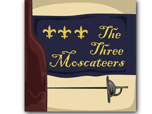 Three Muskateers Pun Canvas Print (8 x 8 inches)