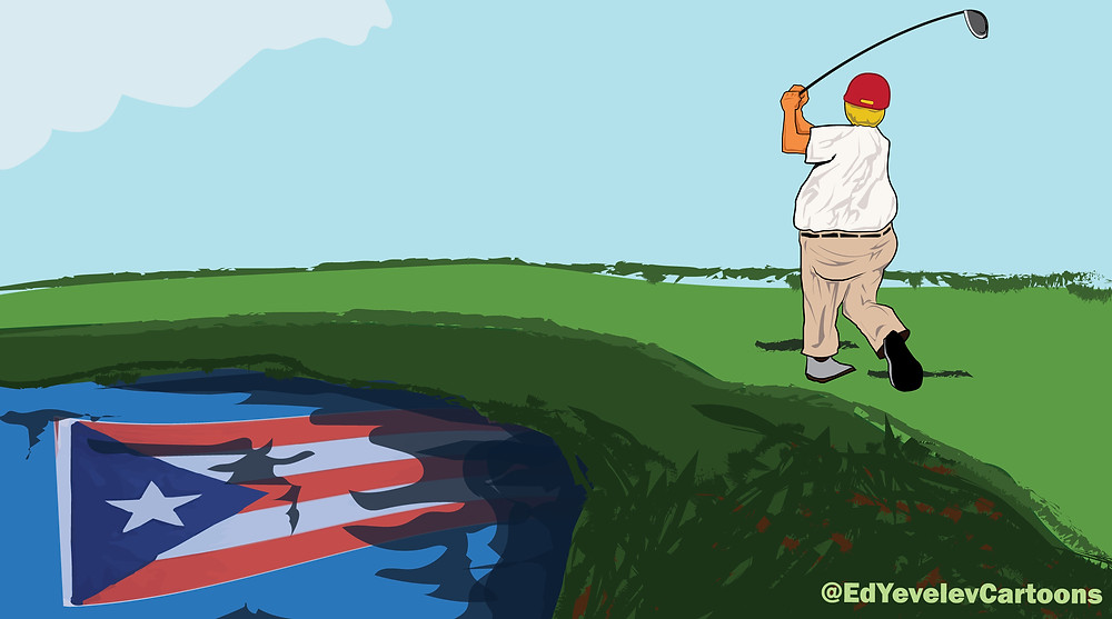 Donald Trump at his golf course while Puerto Rico suffers