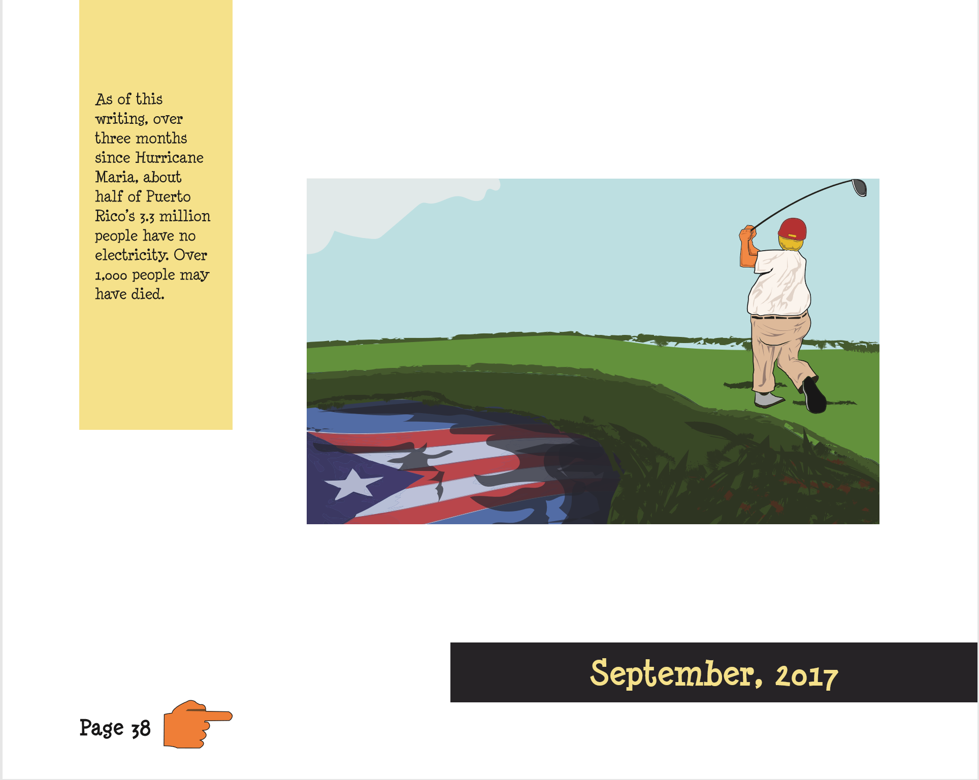 Trump Cartoon Book Inside Page Golf