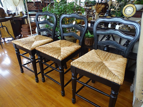 Black Wood & Wicker Chairs (SET OF 3)
