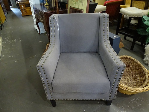 Grey Studded Upholstered Chair