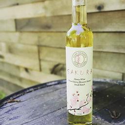 Bottle of Sakura, cherry blossom honey wine.