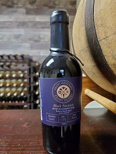 Bottle of Black Nectaris mead, honey wine.