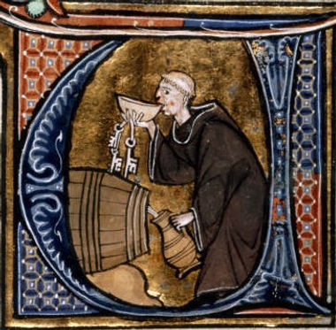 medieval painting of monk drinking mead
