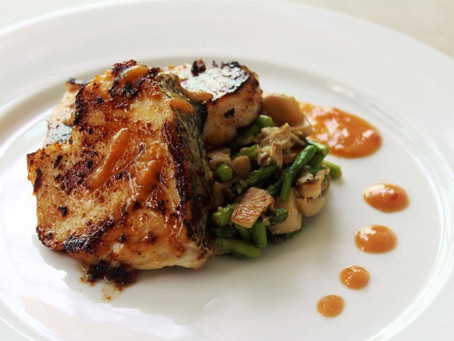 Miso Cod with sautéed Asparagus and Oyster Mushrooms