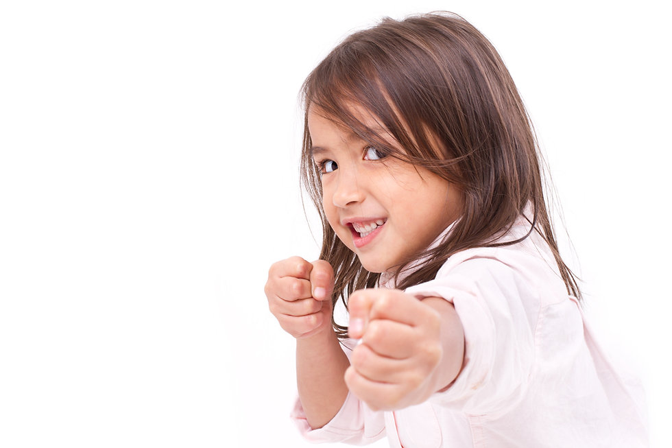 little girl assuming stance, practicing