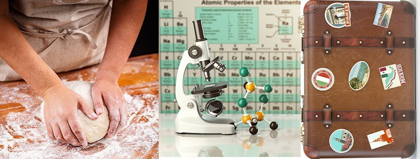 Kneading dough, a microscope with the periodic table, old fashioned suitcase with stickers