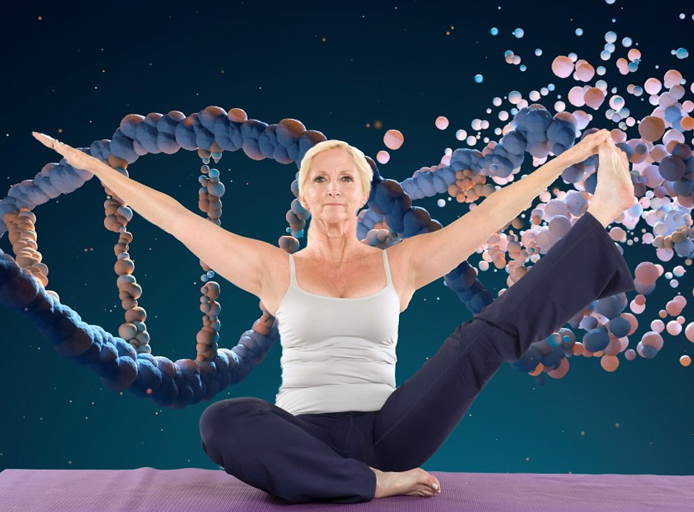 Mature woman sitting on a mat and doing yoga with arms outstretched with DNA illustration behind her. Exercise may help those with high genetic risk for Alzheimer's