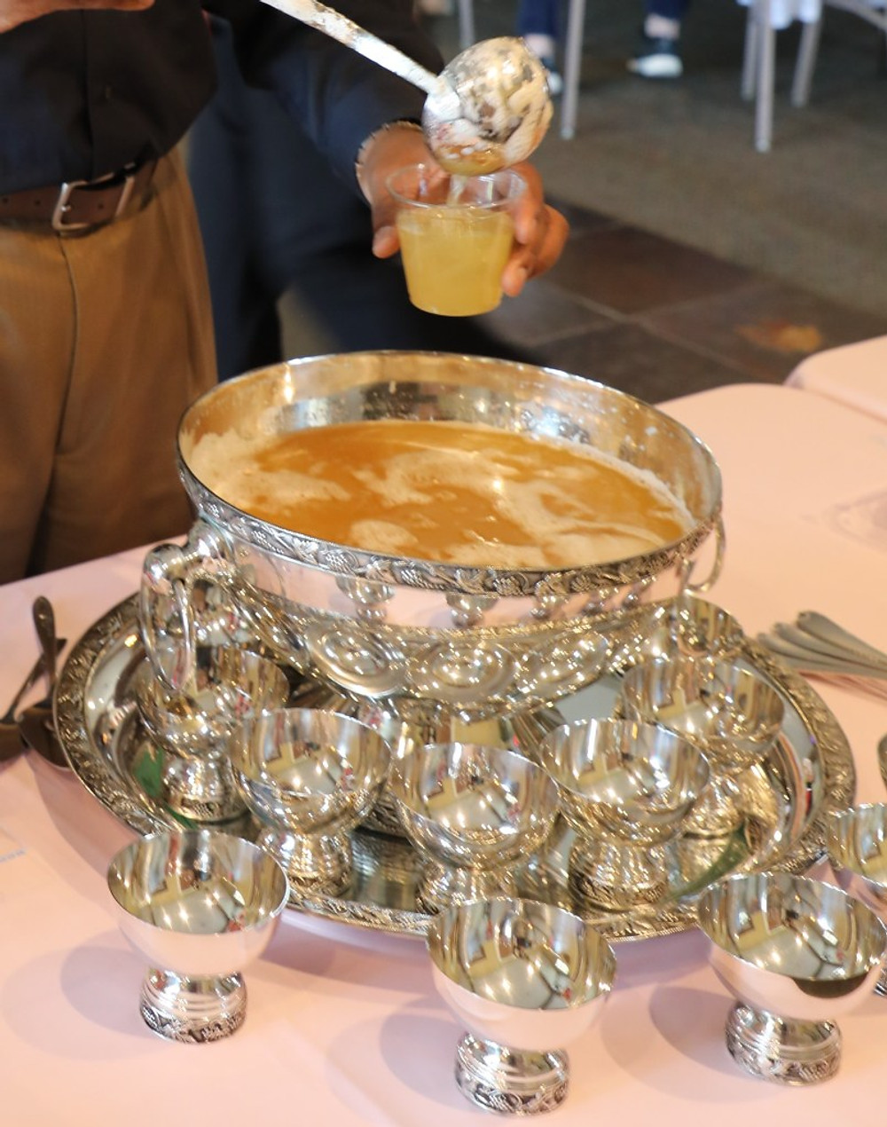 Silver punch bowl with mock champagne punch