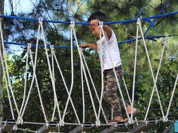 吊橋を渡る子供