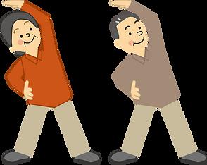 ラジオ体操を日課にする老夫婦