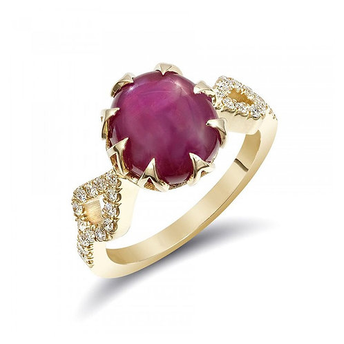 14k Yellow Gold 5.67ct TGW Certified Star Ruby and White Diamond Ring