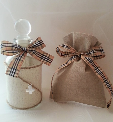 Plaid theme Oil bottle/soap set