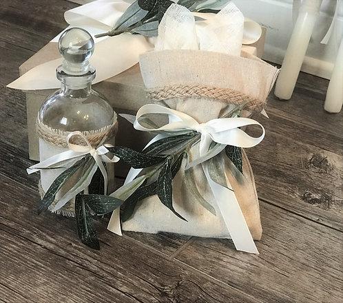 Eucalyptus/Olive theme Oil bottle/soap set