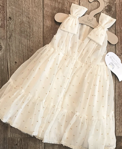 Gold Heart printed muslin baptism dress